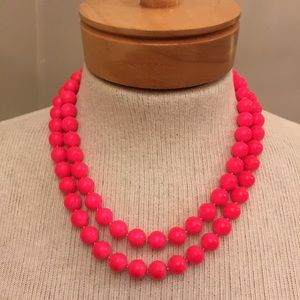 Vintage Neon Pink Double Strand Beads Fluorescent